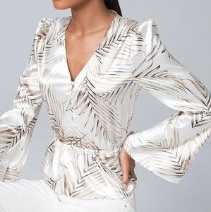 WHBM silky palm-print white blouse